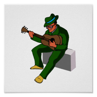 guitar player sitting on amp blues green.png print