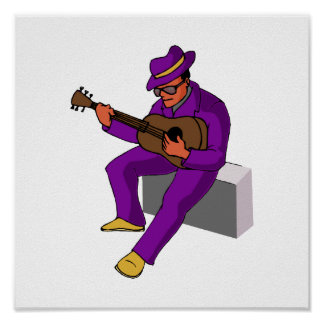 guitar player sitting on amp blues purple.png print