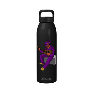 guitar player sitting on amp blues purple png water bottle