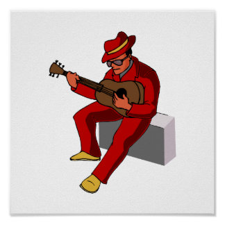 guitar player sitting on amp blues red.png poster