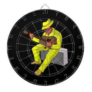 guitar player sitting on amp blues yellow.png dartboard