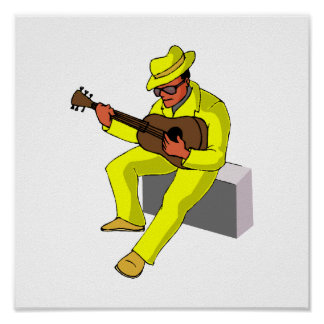 guitar player sitting on amp blues yellow.png posters