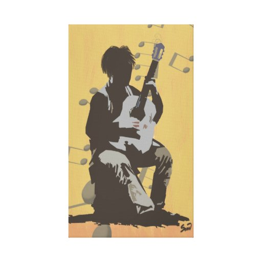 Guitar Player Stretched Canvas Print