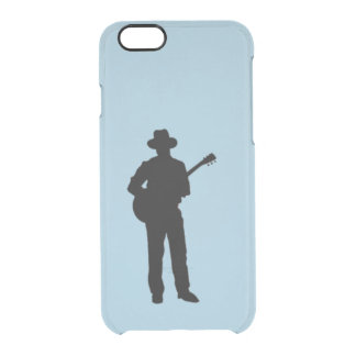 Guitar Player with Hat Blue Clear iPhone 6/6S Case