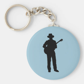 Guitar Player with Hat Blue Keychain