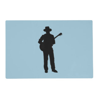 Guitar Player with Hat Blue Placemat