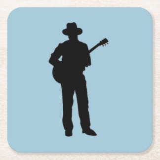 Guitar Player with Hat Blue Square Paper Coaster