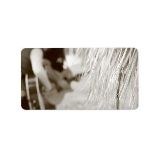 Guitar players behind tiki hut sepia toned custom address labels