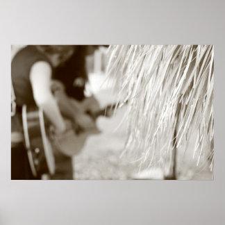 Guitar players behind tiki hut sepia toned print