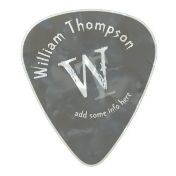 Guitar-player's Monogram - Personalized Black Rock Pearl Celluloid Guitar Pick by mixedworld at Zazzle