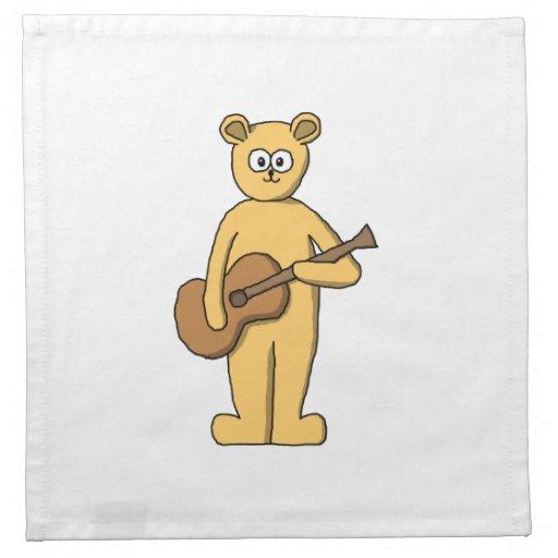 Guitar Playing Bear. Cloth Napkin