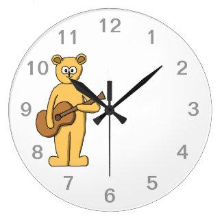 Guitar Playing Bear. Large Clock