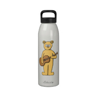Guitar Playing Bear Reusable Water Bottles