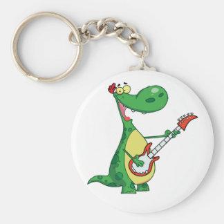 Guitar Playing Dinosaur Keychain