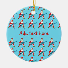 Guitar Playing Santa Claus Ceramic Ornament at Zazzle