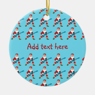 Guitar Playing Santa Claus Double-Sided Ceramic Round Christmas Ornament