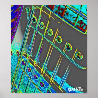 Guitar Pop Art Abstract Man Cave Decor Posters