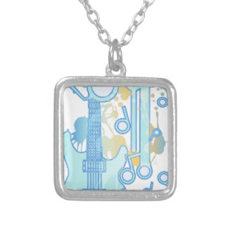 GUITAR-POP TUNES SILVER PLATED NECKLACE