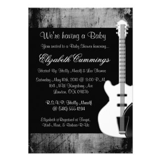 Guitar Punk Baby Shower invite cute  fun rock