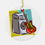 Guitar Red Leaning on Amp Graphic Ceramic Ornament