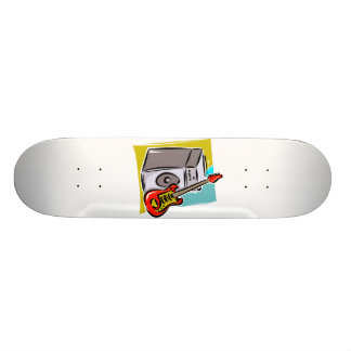Guitar Red Leaning on Amp Graphic Skateboard Deck