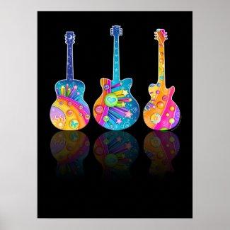 GUITAR REFLECTIONS POSTER John Lennon acoustic Guitars