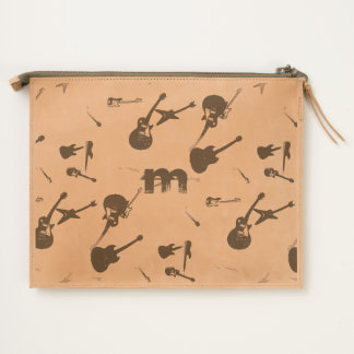 Guitar Rock Monogram Leather Travel Pouch