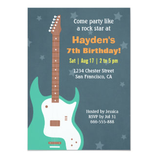 Guitar Rock Star Boys Birthday Party Invitations