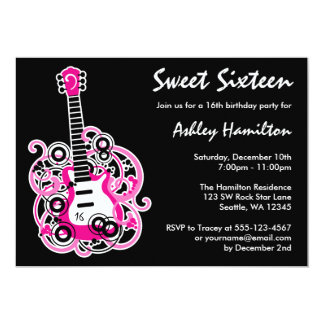 Guitar Rock Star Sweet 16 Birthday Party Hot Pink Card