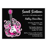 Guitar Rock Star Sweet 16 Birthday Party Hot Pink Custom Invitation