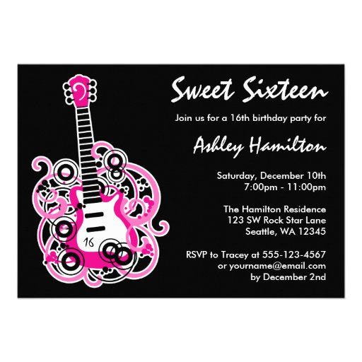 "Guitar Rock Star Sweet 16 Birthday Party Hot Pink 5"" X 7"
