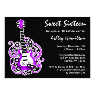 Guitar Rock Star Sweet 16 Birthday Party Purple Card