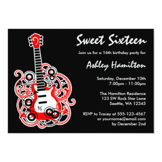 Guitar Rock Star Sweet 16 Birthday Party Red 5x7 Paper Invitation Card