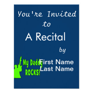 guitar rocks holding up electric green daddy rocks custom invites