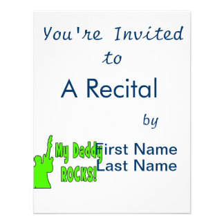 guitar rocks holding up electric green daddy rocks invitations