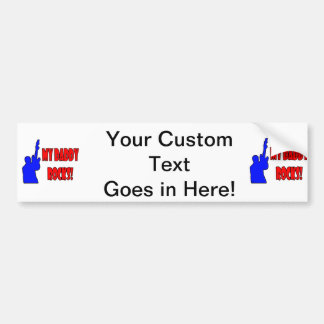 guitar rocks holding up electric red blue daddy car bumper sticker