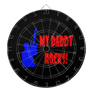 guitar rocks holding up electric red blue daddy dartboard with darts