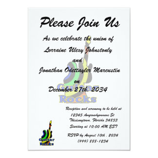 guitar rocks muted colors personalized invitation