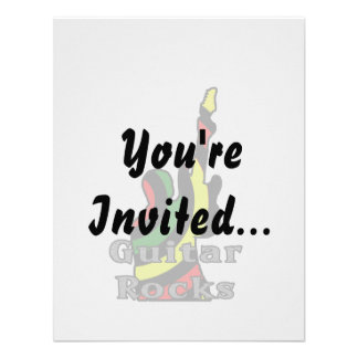 guitar rocks rasta text holding up electric personalized invitations