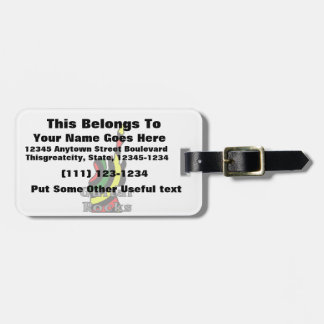 guitar rocks rasta text holding up electric luggage tag