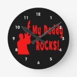 guitar rocks red holding up electric daddy rock clocks
