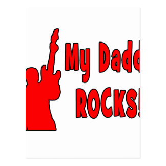 guitar rocks red holding up electric daddy rock postcard