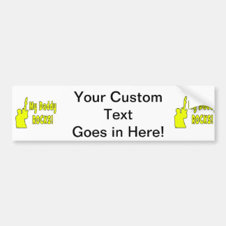 guitar rocks yellow holding up electric daddy rock car bumper sticker