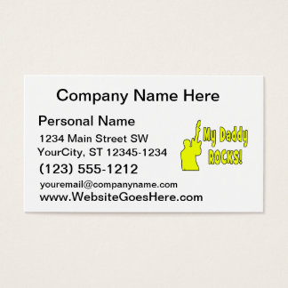 guitar rocks yellow holding up electric daddy rock business card