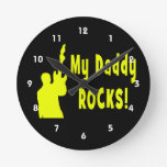guitar rocks yellow holding up electric daddy rock wall clocks