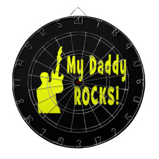 guitar rocks yellow holding up electric daddy rock dart board