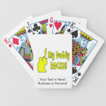 guitar rocks yellow holding up electric daddy rock bicycle playing cards