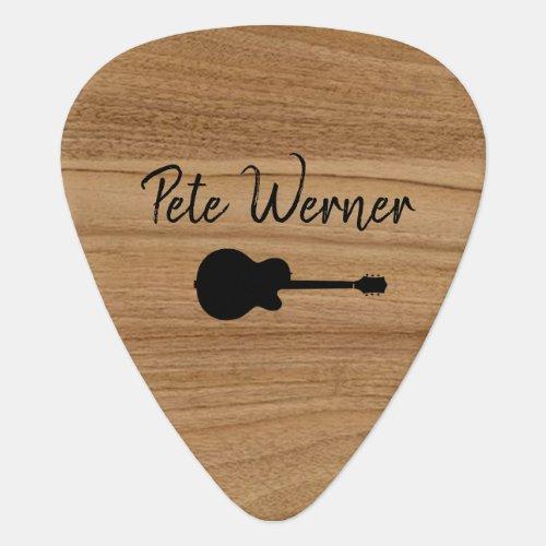guitar rustic wood guitarist script name guitar pick