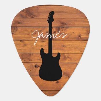 Guitar Rustic Wood Handwritten Name Guitar Pick by rockandpicks at Zazzle