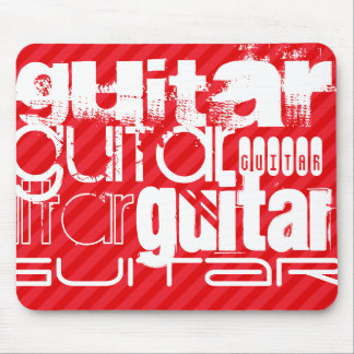Guitar; Scarlet Red Stripes Mouse Pad